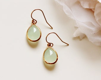 Mint Opal Earrings Mint Earrings Mint Wedding Bridesmaid Gift Ideas Summer Wedding Mint Bridesmaid Earrings Simple Jewelry Gift for Her