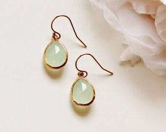 Mint Opal Earrings Mint Earrings Mint Wedding Jewelry Bridesmaid Gift Idea Summer Wedding Mint Bridesmaid Earrings Gold Simple Jewelry