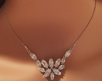 Bridal Marquise CZ Necklace and Earrings / Wedding Jewelry / Bridemaid Jewelry Set