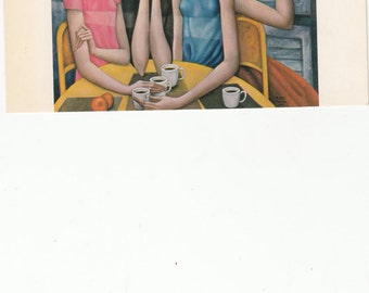 1962 Big Eyed Wispy Women Having A Coffee/Keane Vintage Postcard Unused