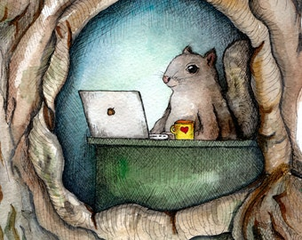 """Watercolor squirrel painting """"Squirrel Office"""" - cute squirrel with coffee, animal art, nursery, squirrel and acorn, woodland creatures"""