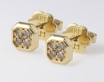 Simple Diamond Studs Earrings 14k Gold, Diamonds Earrings, Small Stud Earrings, Minimalist Earrings, Geometric Earrings, Champagne Diamond