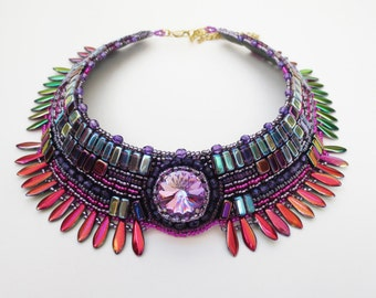 statement necklace, one of a kind - beaded necklace - bohemian jewelry, colorful bohemian necklace