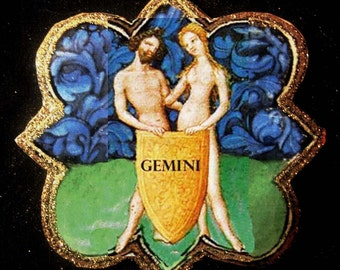 Gemini Twins  Ornament, Handcrafted Wood, Astrology Signs, Twin Ornament, June Birthday, Book of Hours, Illuminated Mss, Christmas Gift