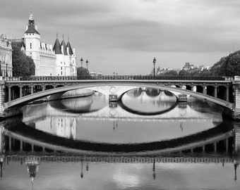 Paris black and white photography, Paris Seine reflections, bridges, Conciergerie, French wall art, Paris decor, home decor, fine art print