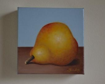 Original 5x5' acryic realistic still life painting, golden pear painting, yellow pear painting, kitchen art, fruit miniature, fruit art