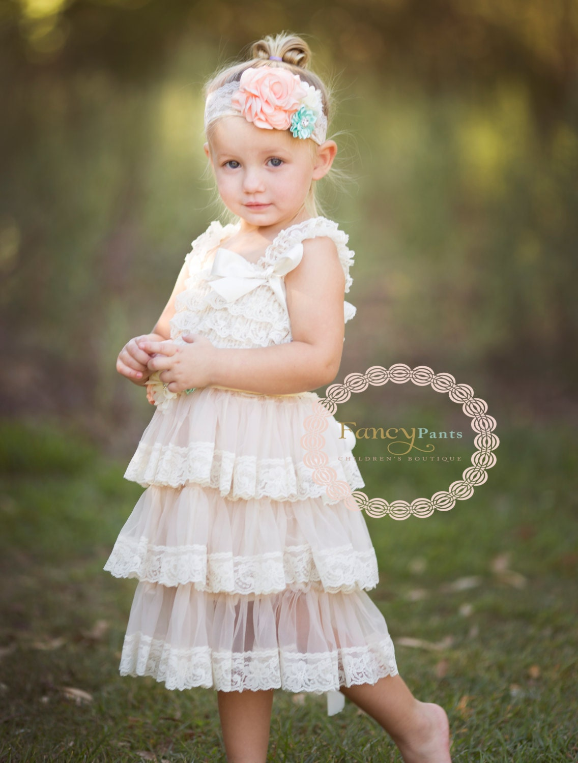 Rustic Flower girl dress Ivory dress Country by byFancyPants