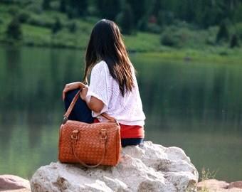 Leather weekender bag - womens weekender bag - brown leather weekender - leather travel bag - leather overnight bag