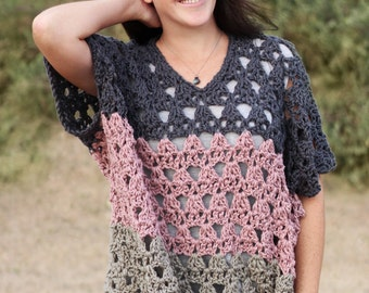 Crochet Pattern - Point The Way Pullover - PDF