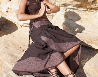 Boho long skirt (cotton and lace) - Nain (0070)