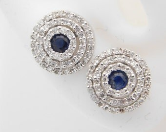0.75 Carat T.G.W. Round Cut Diamond & Sapphire Cluster Earrings 14K White