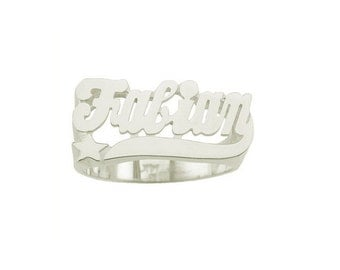 SNS081- Sterling Silver Star Tail Name Ring