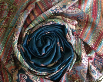 Cashmere  Pashmina Folk Wrap Scarf Shawl Stole Double Sided Paisley Floral Multicolor Jacquard from Jerusalem 10