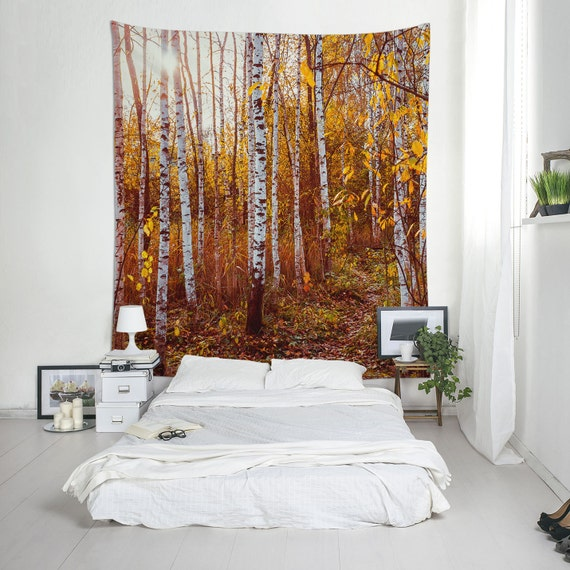 Birch Tapestry, Nature Wall Tapestry, Large Wall Art, Golden Forest, Landscape Photo, Wall Hanging, Tree Tapestry