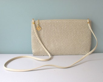 Whiting and Davis Purse, Mesh Purse, Cream Clutch, Vintage Mesh Bag, Clutch Purse, Shoulder Bag, Christmas Gift, Gift For Her