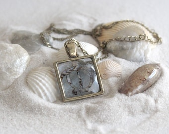 Glass tile turtle necklace