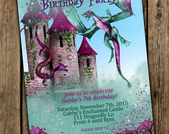 Girl Dragon Invitations, Girly Dragon invitations, Dragon Party, Dragon Birthday Party, Dragons