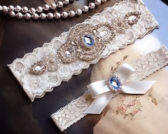Wedding Garter Set, Bridal Garter Set, Vintage Inspired, Ivory Lace Garter, Crystal Bridal Garter, Agatha Style 10528