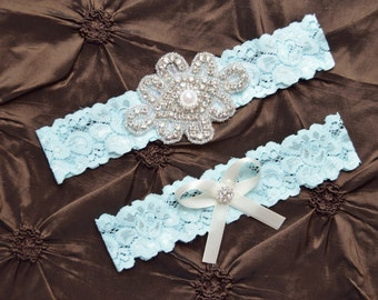 Wedding Garter Belt, Bridal Garter Set, Blue Lace Garter, Keepsake Garter, Toss Garter, Something Blue Garter, Crystal Embellishment Blue