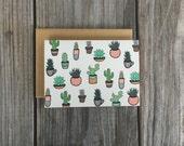 Cute Note Card Set, Cacti Art, Cactus Artwork