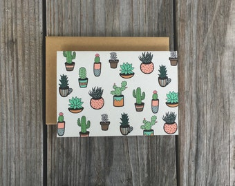 Cute Note Card Set, Cacti Art, Cactus Artwork