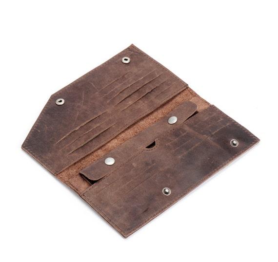 Chocolate Brown Leather Wallet / Big Wallet / Distressed Leather Wallet / Checkbook Coin Handmade Unisex Wallet / Card Slots Wallet - Kipper