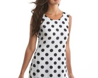 Cora Black and White Polka Dot Shift Dress