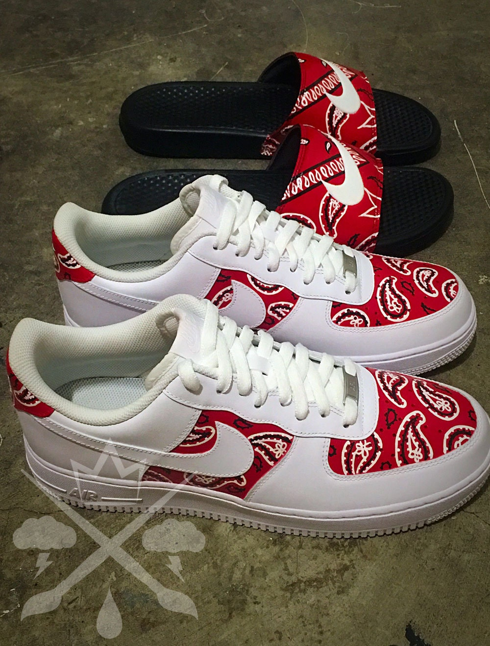 nike air force one 1 low custom red bandana men 39 s white. Black Bedroom Furniture Sets. Home Design Ideas