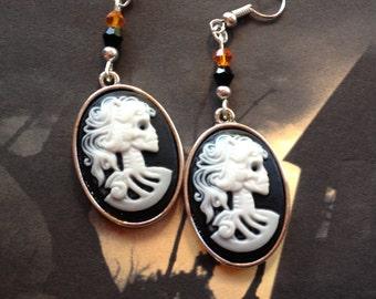 Halloween Jewelry, Halloween Earrings, Metal Skull Earrings