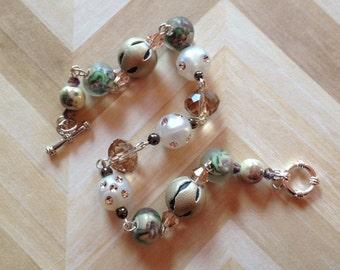 Tan Beaded Bracelet, Beaded Glass Bracelet, Tan Bracelet, Gift For Her