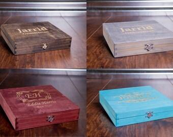 Rustic Cigar Box, Groomsmen, Groomsman, Best Man, Gift Box, Personalized Wedding Bridal Favor, Custom Engraved, Best Man Gift