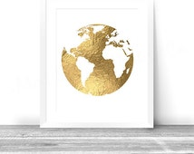 Golden Globe, Gold Foil World Map Printable, Wall Art Decor, INSTANT Download, Digital 8x10 Print, Metallic Map, Gold Foil Map