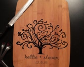 Fancy Tree Wedding Names with Date Laser Engraved Bamboo Cutting Board