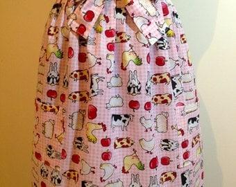Retro style hand made half apron in farmyard animal design