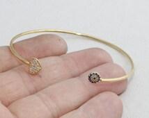 1 Pcs Pave Heart Bracelet , Shiny Gold Cuff Bracelet , Heart, cubic zirconia heart, CF, xb , zrcn116