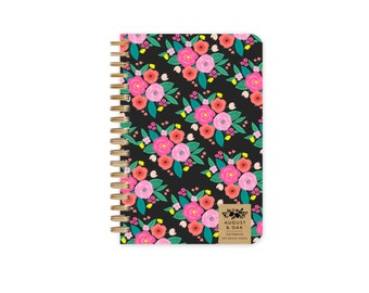 Floral Notebook with Grid Paper, 100 Pages