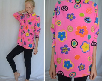 90s Cartoon Bright Flower Power Turtle Neck