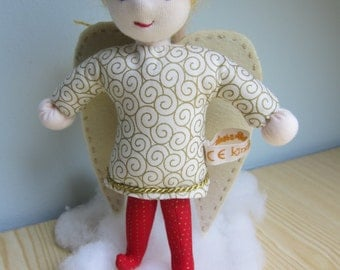 Angel doll called Gabriella with wings and halo, Waldorf doll, 25cm