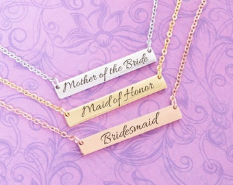 SALE - Engraved Personalized Bar Necklace - Rose Gold - Gold - Bridal Party - Bridesmaid Gift - Custom Engraving - Maid of Honor