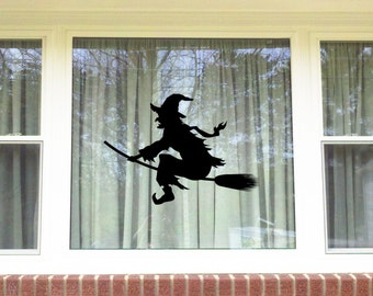 Halloween Witch Window/Wall Vinyl Decal Decorations...You choose the color!