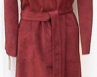 Medium RUST SUEDE Belted Long Coat from I Magnin (washable)