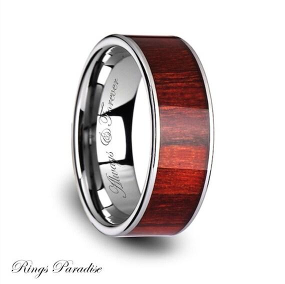 Wood Tungsten Bands: Tungsten Wood Lnlay Wedding Band Anniversary Gift Men's