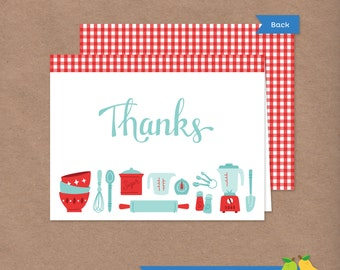 Cooking Party Thank You Card // Retro Recipe // DIY Printable Folded Thank You Note // Red // Instant Download // Baking Chef Kitchen