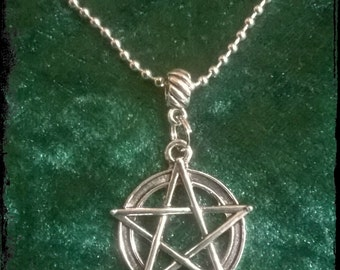 Large pentacle charm pendant necklace on ball chain, Wiccan, witch, pagan.