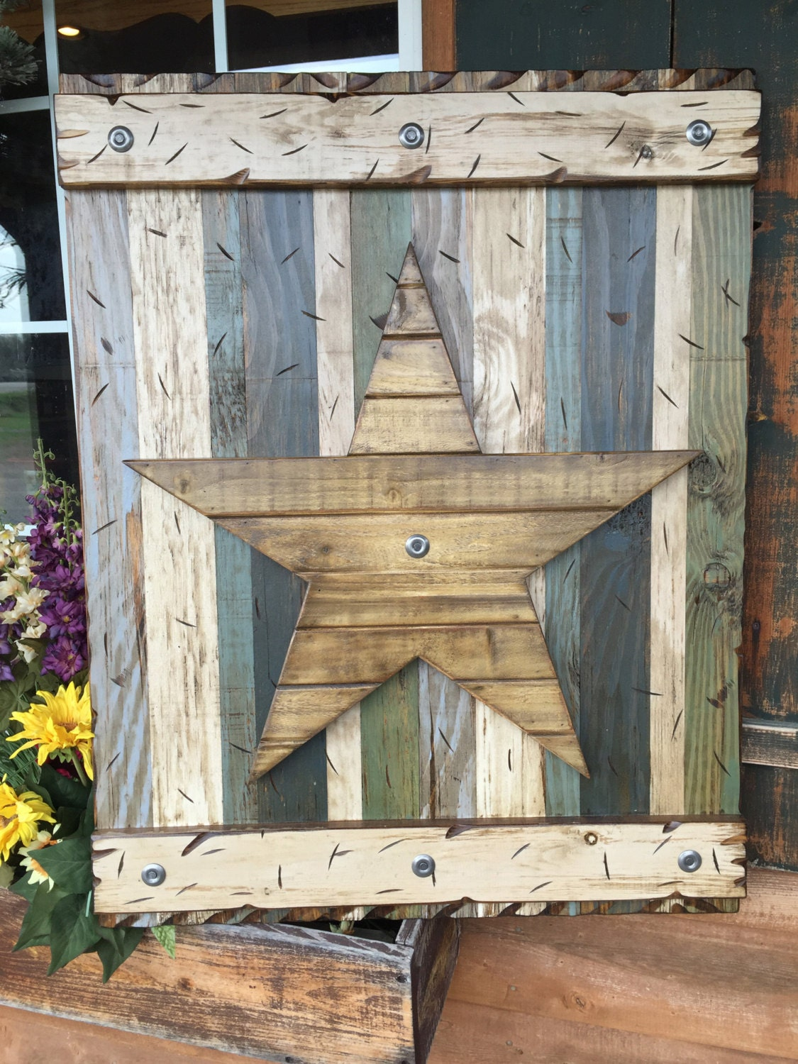 Star rustic sign reclaimed shutter barn wood distressed for Reclaimed pallet wood wall