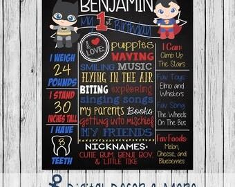 1st Birthday Baby Superhero Birthday Chalkboard Style Poster | Chalkboard Printable | Digital File
