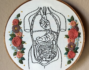 """Floral human torso hand embroidery hoop art. Hand stained 7"""" hoop. Home decor. Anatomy."""