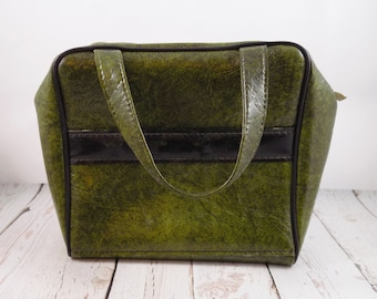 Vintage ladies golf tee bag,olive green and black,vinyl,women's golf accessory,golfing