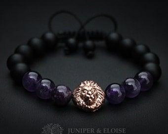Mens Bracelet, Lion Bracelet, Matte Bracelet, Men's Jewelry, Gift For Him, Christmas Gift, Braccialetto, Pulsera, Armband, ブレスレット