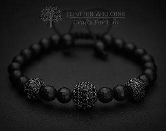 Mens Bracelet, Mens Jewelry, Matte Bracelet, Onyx Bracelet, Gunmetal Spacer Beads, ブレスレット , Armband